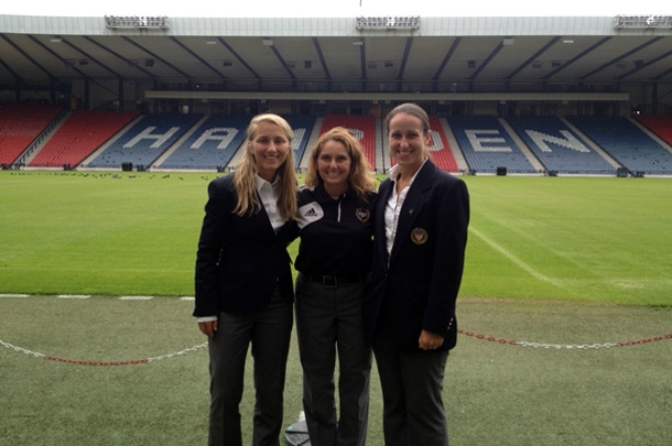Katja (left) and Amanda (right) with Sandra Serafini (middle) at Hampden Park