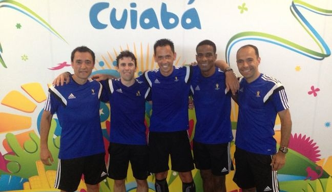 Eric Boria with fellow FIFA officials in Cuiaba