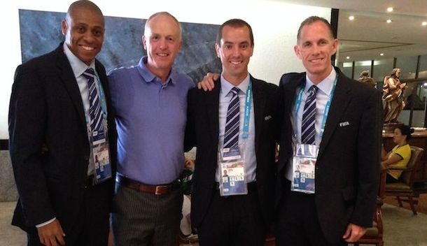 Joe Fletcher, Peter Walton, Mark Geiger and Sean Hurd at the World Cup in Brazil